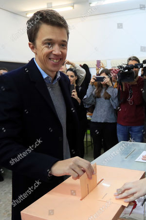 Stock Photo of Leader of Spanish Mas Pais party Inigo Errejon casts his vote at a polling station in Madrid, Spain, 10 November 2019. Spain holds general elections after acting Prime Minister Sanchez failed to form government following 28 April elections.