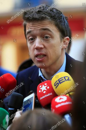 Leader of Spanish Mas Pais party Inigo Errejon talks to media after casting his vote at a polling station in Madrid, Spain, 10 November 2019. Spain holds general elections after acting Prime Minister Sanchez failed to form government following 28 April elections.