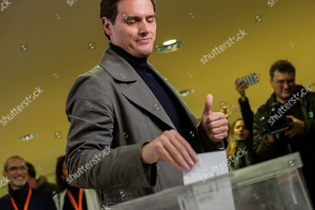 Head of the center-right Ciudadanos party candidate Albert Rivera casts his vote for the general election in Pozuelo de Alarcon, Spain, Sunday, Nov.10, 2019. Spain holds its second national election this year after Socialist leader Pedro Sanchez failed to win support for his government in a fractured Parliament