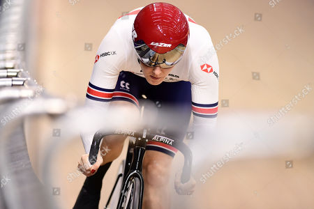 Katy Marchant of Great Britain rides during the Women's Sprint Qualifying.