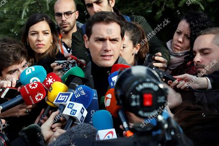 Leader of Spanish Ciudadanos Party Albert Rivera (C) talks to media after casting his vote at a polling station in Pozuelo de Alarcon, Madrid, Spain, 10 November 2019. Spain holds general elections after Sanchez failed to form government following 28 April elections.