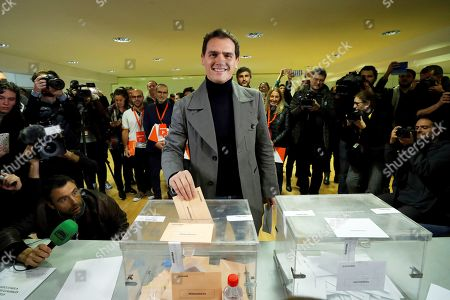 Leader of Spanish Ciudadanos Party Albert Rivera (C) casts his vote at a polling station in Pozuelo de Alarcon, Madrid, Spain, 10 November 2019. Spain holds general elections after Sanchez failed to form government following 28 April elections.
