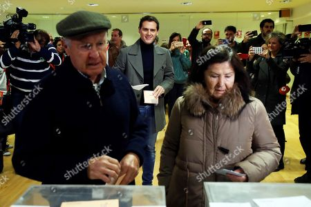 Leader of Spanish Ciudadanos Party Albert Rivera (C) waits for his turn to casts his vote at a polling station in Pozuelo de Alarcon, Madrid, Spain, 10 November 2019. Spain holds general elections after Sanchez failed to form government following 28 April elections.