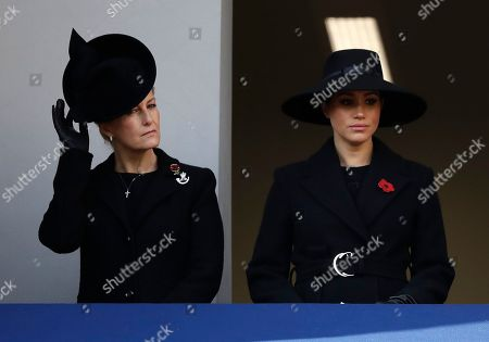 Meghan Duchess of Sussex, right, and Sophie Countess of Wessex attend the Remembrance Sunday ceremony at the Cenotaph in Whitehall in London,. Remembrance Sunday is held each year to commemorate the service men and women who fought in past military conflicts