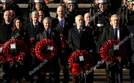 Jo Swinson, leader of the Liberal Democrats, Ian Blackford, the leader of the Scottish National Party in the House of Commons, Leader of the Labour Party Jeremy Corbyn and British Prime Minister Boris Johnson, from left, attend the Remembrance Sunday ceremony at the Cenotaph in Whitehall in London,. Remembrance Sunday is held each year to commemorate the service men and women who fought in past military conflicts