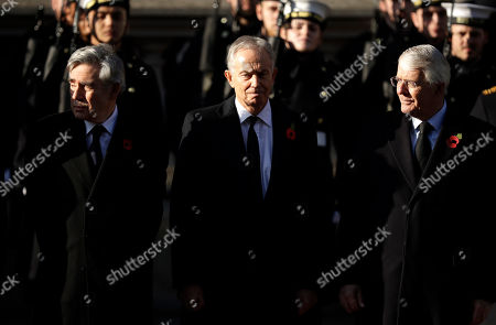 British Prime Ministers, Gordon Brown, Tony Blair, and Sir John Major, from left, attend the Remembrance Sunday ceremony at the Cenotaph in Whitehall in London,. Remembrance Sunday is held each year to commemorate the service men and women who fought in past military conflicts