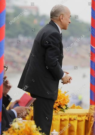 Cambodian King Norodom Sihamoni attends the annual Water Festival boat racing event on the Tonle Sap River in Phnom Penh, Cambodia, 10 November 2019. The annual Water Festival runs from 10 to 12 November and features around 300 racing boats, mostly from Cambodian provinces along the Mekong River.