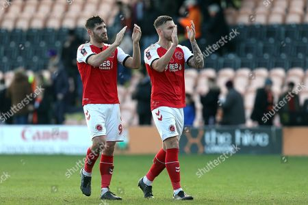 Ched Evans and Ashley Eastham of Fleetwood Town applaud the travelling fans after Barnet vs Fleetwood Town, Emirates FA Cup Football at the Hive Stadium on 10th November 2019