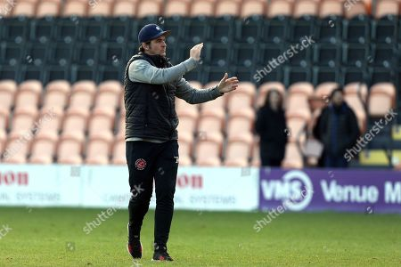 Fleetwood Town manager Joey Barton applauds the travelling fans after Barnet vs Fleetwood Town, Emirates FA Cup Football at the Hive Stadium on 10th November 2019