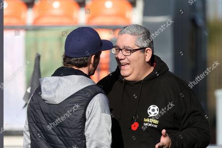 Fleetwood Town manager Joey Barton talks to Ian Abrahams (Moose) of Talksport Radio during Barnet vs Fleetwood Town, Emirates FA Cup Football at the Hive Stadium on 10th November 2019