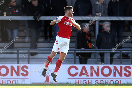 Ched Evans of Fleetwood Town celebrates scoring the first goal during Barnet vs Fleetwood Town, Emirates FA Cup Football at the Hive Stadium on 10th November 2019