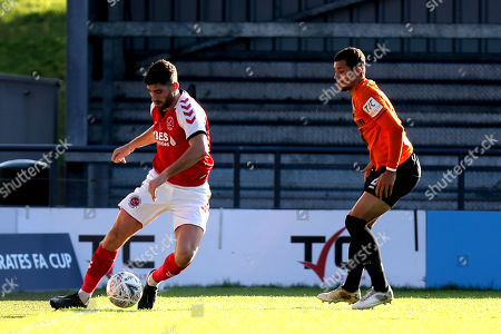 Ched Evans of Fleetwood Town and Cheye Alexander of Barnet during Barnet vs Fleetwood Town, Emirates FA Cup Football at the Hive Stadium on 10th November 2019