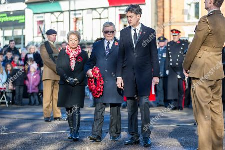 Former Labour Party Leader Ed Milliband & Labour MP Rosie Winterton attending the Remembrance Sunday service in Doncaster this morning.