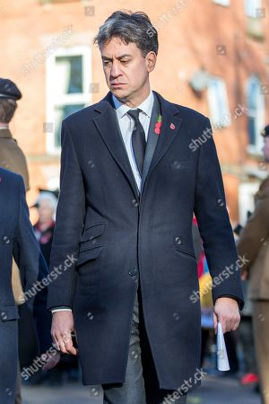 Former Labour Party Leader Ed Milliband attending the Remembrance Sunday service in Doncaster this morning.