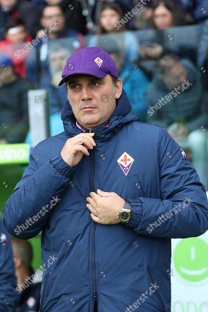 Stock Image of Fiorentinai's head coach Vincenzo Montella gestures during the Italian Serie A soccer match Cagliari Calcio vs ACF Fiorentina at Sardegna Arena stadium in Cagliari, Sardinia island, Italy, 10 November 2019.