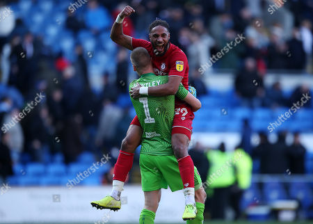 Ashley Williams of Bristol City celebrates at full time with keeper Daniel James Bentley.
