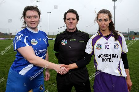 Raharney vs St. Dominic's. Raharney's Rachel O'Malley, referee Paul Ryan and St. Dominic's Niamh Watson during the coin toss