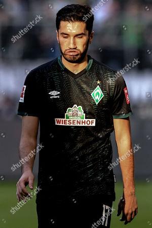 Bremen's Nuri Sahin reacts during the German Bundesliga soccer match between Borussia Moenchengladbach and Werder Bremen in Moenchengladbach, Germany, 10 November 2019.