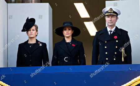 Sophie Countess of Wessex, Meghan Duchess of Sussex and Admiral Tim Laurence husband of Princess Anne.