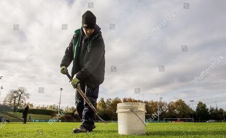 Ireland Women vs Wales Women. John Stephens prepares the pitch ahead of the game