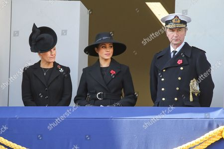 Sophie Countess of Wessex, Meghan Duchess of Sussex and Tim Laurence attend the Remembrance Sunday ceremony at the Cenotaph memorial in Whitehall, central London. Remembrance Sunday is held each year to commemorate the service men and women who fought in past military conflicts.