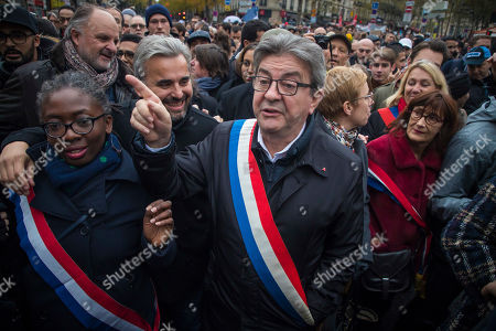 (From L) Members of Parliament of the leftist La France Insousime (LFI) party, Daniele Obono, Alexis Corbiere, party leader Jean-Luc Melenchon and Clementine Autain, attend a march to protest against Islamophobia in Paris, France, 10 November 2019. Protesters gathered to protest against the anti-Muslim acts in France. The demonstration was called by the Collective Contre l?Islamophobie in France (CCIF), following an attack against a mosque in Bayonne on 28 October where an attacker killed two people that tried to stop him from setting a fire at the doors of the mosque.