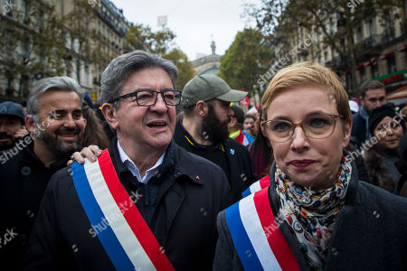(From L) Members of Parliament of the leftist La France Insousime (LFI) party, Alexis Corbiere, party leader Jean-Luc Melenchon and Clementine Autain, attend a march to protest against Islamophobia in Paris, France, 10 November 2019. Protesters gathered to protest against the anti-Muslim acts in France. The demonstration was called by the Collective Contre l?Islamophobie in France (CCIF), following an attack against a mosque in Bayonne on 28 October where an attacker killed two people that tried to stop him from setting a fire at the doors of the mosque.