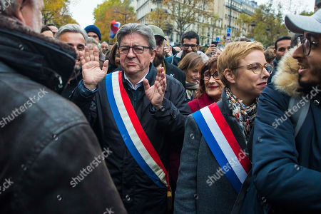 Members of Parliament of the leftist La France Insousime (LFI) party leader Jean-Luc Melenchon (C-L) and Clementine Autain (C-R) attend a march to protest against Islamophobia in Paris, France, 10 November 2019. Protesters gathered to protest against the anti-Muslim acts in France. The demonstration was called by the Collective Contre l?Islamophobie in France (CCIF), following an attack against a mosque in Bayonne on 28 October where an attacker killed two people that tried to stop him from setting a fire at the doors of the mosque.
