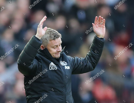 Manchester United's manager Ole Gunnar Solskjaer during the English Premier League soccer match between Manchester United and Brighton Hove Albion at Old Trafford Stadium in Manchester, Britain, 10 November 2019.