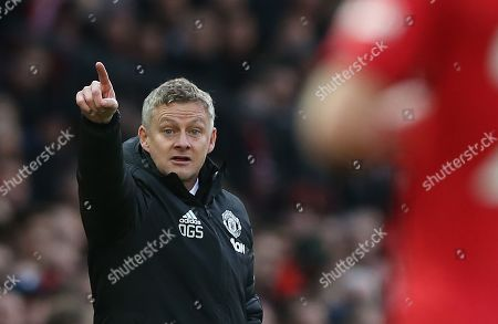 Stock Picture of Manchester United's manager Ole Gunnar Solskjaer reacts during the English Premier League soccer match between Manchester United and Brighton Hove Albion at Old Trafford Stadium in Manchester, Britain, 10 November 2019.