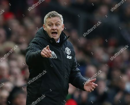 Manchester United's manager Ole Gunnar Solskjaer reacts during the English Premier League soccer match between Manchester United and Brighton Hove Albion at Old Trafford Stadium in Manchester, Britain, 10 November 2019.
