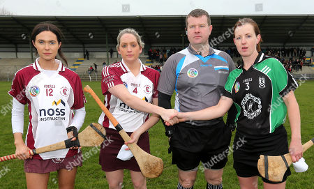 Clanmaurice (Kerry) vs St. Brendas Ballymacnab (Armagh). Aoibhin O'Hare and Aieen McParland of St.Brenda's with Clanmaurice's Liz Houlihan and referee Kevin O'Brien