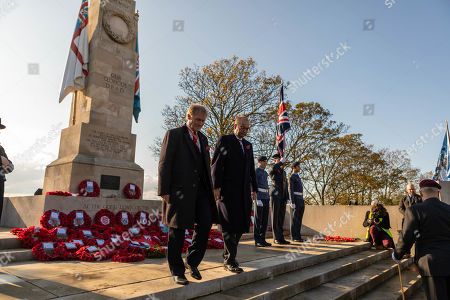 Sir David Amess and James Dudderidge lay wreaths at the war memorial. Remembrance Day Service at the Southend Cenotaph, Clifftown Parade, in front of the Lutyens designed war memorial. The service is attended by local dignitaries, including the Mayor Southend and both local MPs, Sir David Amess and James Dudderidge.