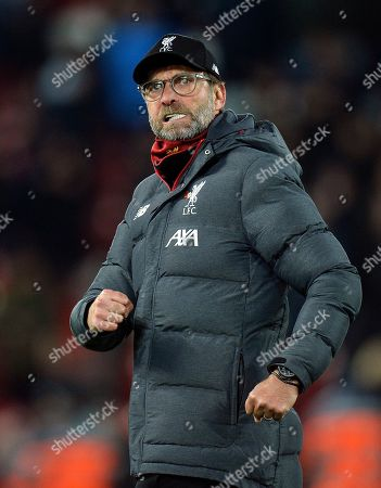 Liverpool manager Juergen Klopp reacts after the English Premier League soccer match between Liverpool FC and Manchester City in Liverpool, Britain, 10 November 2019.