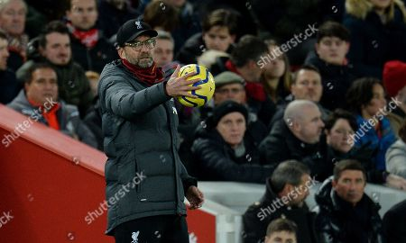 Liverpool's manager Juergen Klopp reacts during the English Premier League soccer match between Liverpool FC and Manchester City in Liverpool, Britain, 10 November 2019.
