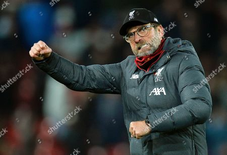 Liverpool manager Juergen Klopp reacts after winning the English Premier League soccer match between Liverpool FC and Manchester City in Liverpool, Britain, 10 November 2019.