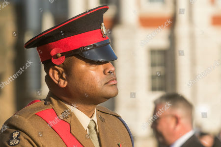 Sergeant Johnson Beharry British Army soldier who was awarded the Victoria Cross arrives at Horse Guards in the bright autumn sunshine to take part in the remembrance ceremony