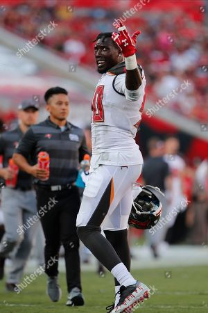Tampa Bay Buccaneers defensive end Jason Pierre-Paul (90) during the second half of an NFL football game against the Arizona Cardinals, in Tampa, Fla