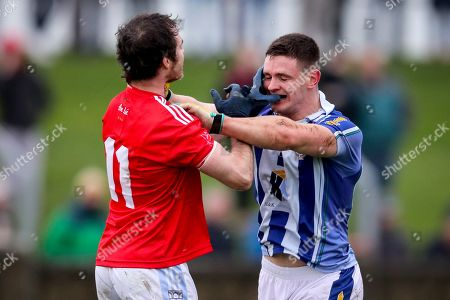 Newtown Blues vs Ballyboden St. Enda's. Tempers flare between Newtown Blues' Colm Judge and James Holland of Ballyboden St. Enda's