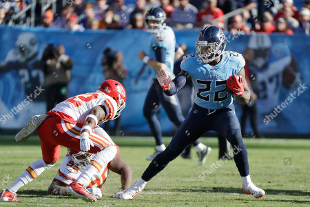 Tennessee Titans running back Derrick Henry (22) plays against the Kansas City Chiefs in the second half of an NFL football game, in Nashville, Tenn. The Titans won 35-32