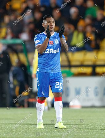 Alfredo Morelos of Rangers applauds the travelling Rangers fans as he walks off the pitch to be substituted for Jermain Defoe.