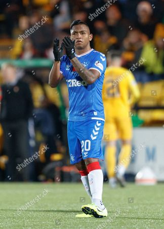 Stock Photo of Alfredo Morelos of Rangers applauds the travelling Rangers fans as he walks off the pitch to be substituted for Jermain Defoe.