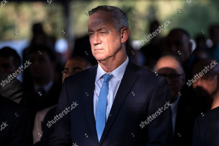 Israeli Blue and White party chief Benny Gantz attends a state memorial ceremony for Yitzhak and Leah Rabin, at Mt. Herzl in Jerusalem, 10 November 2019. Yitzhak Rabin was shot dead on 04 November 1995 just two years after the signing of the Oslo peace accords, for which he and former Israeli president Shimon Peres were awarded the Nobel Peace Prize along with late veteran Palestinian leader Yasser Arafat.