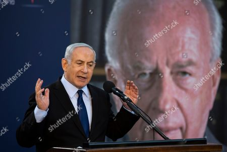 Israeli Prime Minister Benjamin Netanyahu speaks as he attends a state memorial ceremony for Yitzhak and Leah Rabin, at Mt. Herzl in Jerusalem, 10 November 2019. Yitzhak Rabin was shot dead on 04 November 1995 just two years after the signing of the Oslo peace accords, for which he and former Israeli president Shimon Peres were awarded the Nobel Peace Prize along with late veteran Palestinian leader Yasser Arafat.