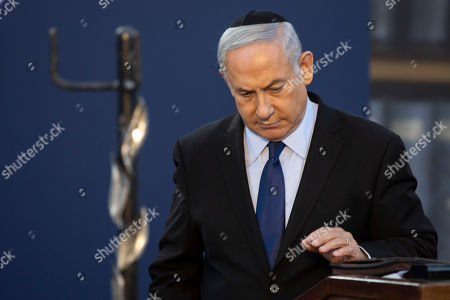 Israeli Prime Minister Benjamin Netanyahu attends a state memorial ceremony for Yitzhak and Leah Rabin, at Mt. Herzl in Jerusalem, 10 November 2019. Yitzhak Rabin was shot dead on 04 November 1995 just two years after the signing of the Oslo peace accords, for which he and former Israeli president Shimon Peres were awarded the Nobel Peace Prize along with late veteran Palestinian leader Yasser Arafat.