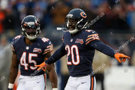 Chicago Bears cornerback Prince Amukamara (20) reacts to a defensive stop against the Detroit Lions during the second half of an NFL football game in Chicago