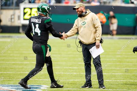 Stock Picture of , 2019, New York Jets head coach Adam Gase congratulates quarterback Sam Darnold (14) after the touchdown pass during the NFL game between the New York Giants and the New York Jets at MetLife Stadium in East Rutherford, New Jersey