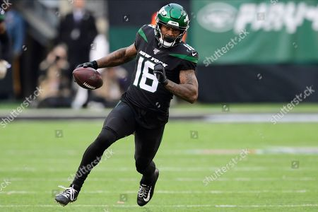 New York Jets wide receiver Demaryius Thomas (18) during the second half of an NFL football game against the New York Giants, in East Rutherford, N.J