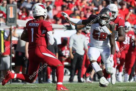 Tampa Bay Buccaneers linebacker Shaquil Barrett (58) rushes Arizona Cardinals quarterback Kyler Murray (1) during the NFL game between the Arizona Cardinals and the Tampa Bay Buccaneers held at Raymond James Stadium in Tampa, Florida. Andrew J