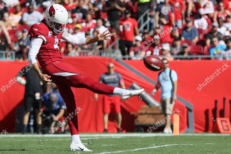 Arizona Cardinals punter Andy Lee (4) punts the ball during the NFL game between the Arizona Cardinals and the Tampa Bay Buccaneers held at Raymond James Stadium in Tampa, Florida. Andrew J